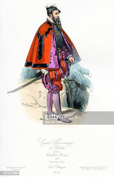 grand swiss personage - 16th century style stock illustrations, clip art, cartoons, & icons