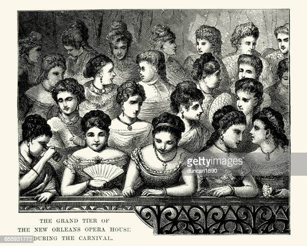 grand tier of the new orleans opera house 19th century - theater industry stock illustrations, clip art, cartoons, & icons