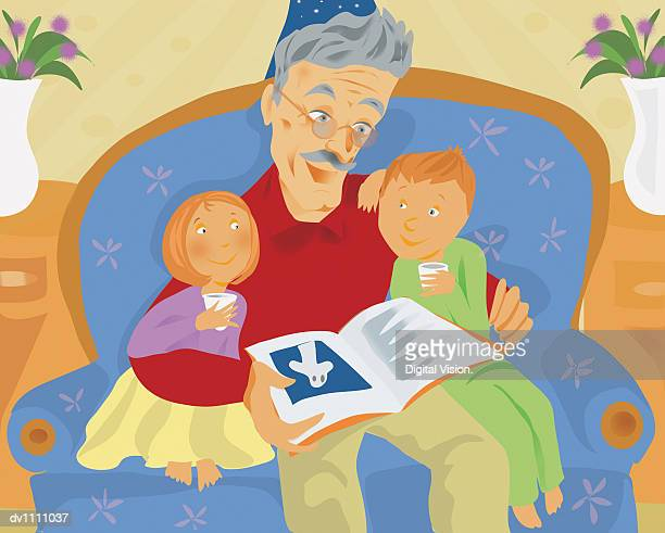 Grandfather Sitting on An Armchair and Reading at Night to His Grandchildren