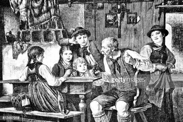 Abuelo con la pipa sentado en la mesa, rodeado de niños, contando cuentos de hadas