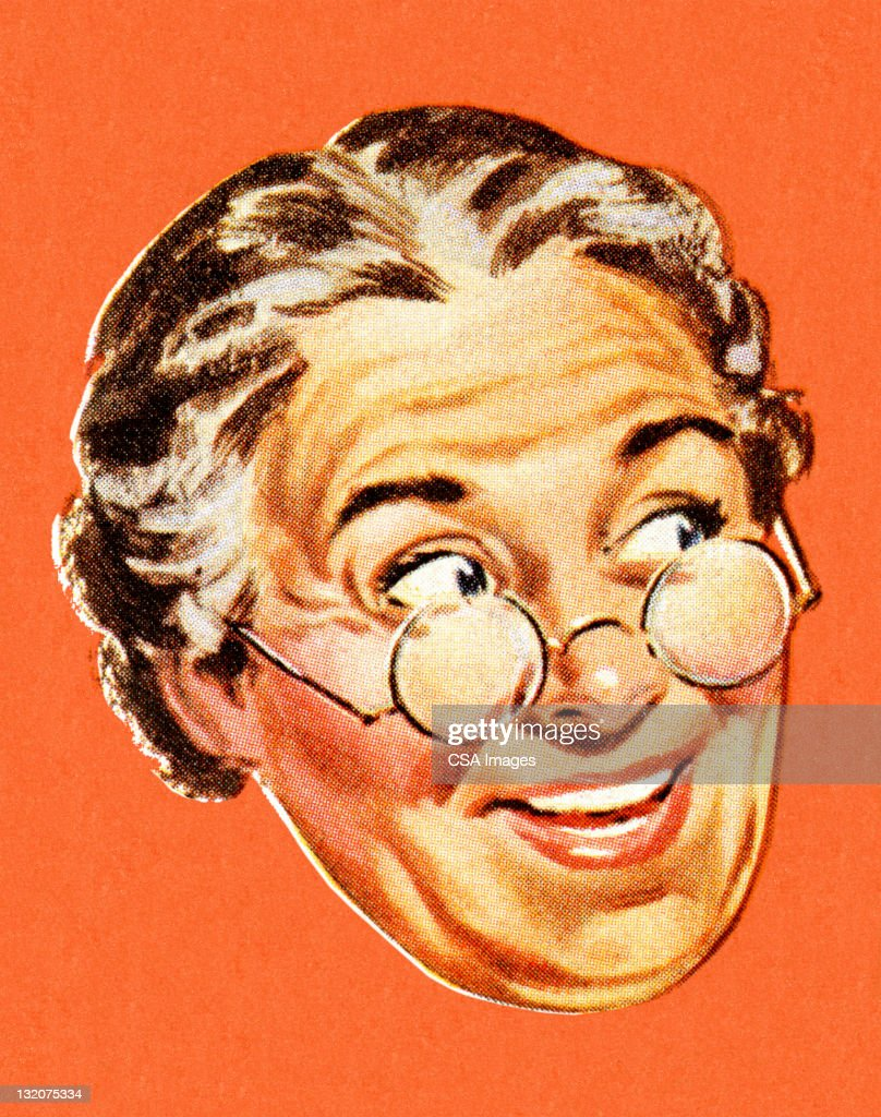 Grandma Smiling and Looking to the Side : stock illustration