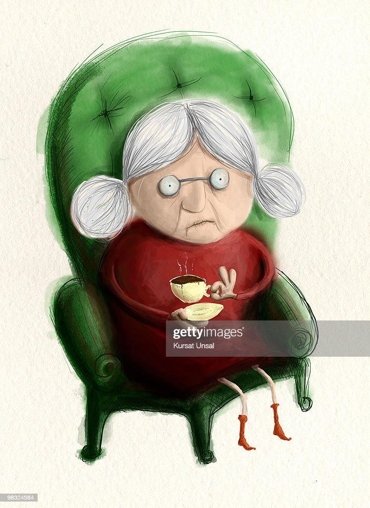 Grandma with coffee on the green armchair : stock illustration