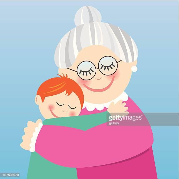 Grandmother hugging her grandson