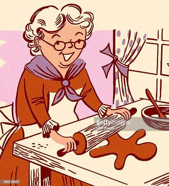 Grandmother Making Gingerbread Men