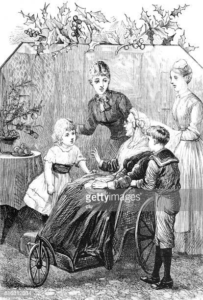 Grandmother sitting in wheelchair surrounded by grand children, daugther and maid
