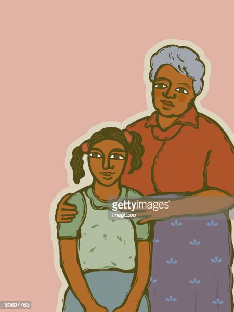a grandmother with her young granddaughter - arm in arm stock illustrations, clip art, cartoons, & icons