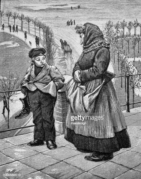 grandmother's portrait with her grandson in wintertime - 1896 - 1896 stock illustrations, clip art, cartoons, & icons