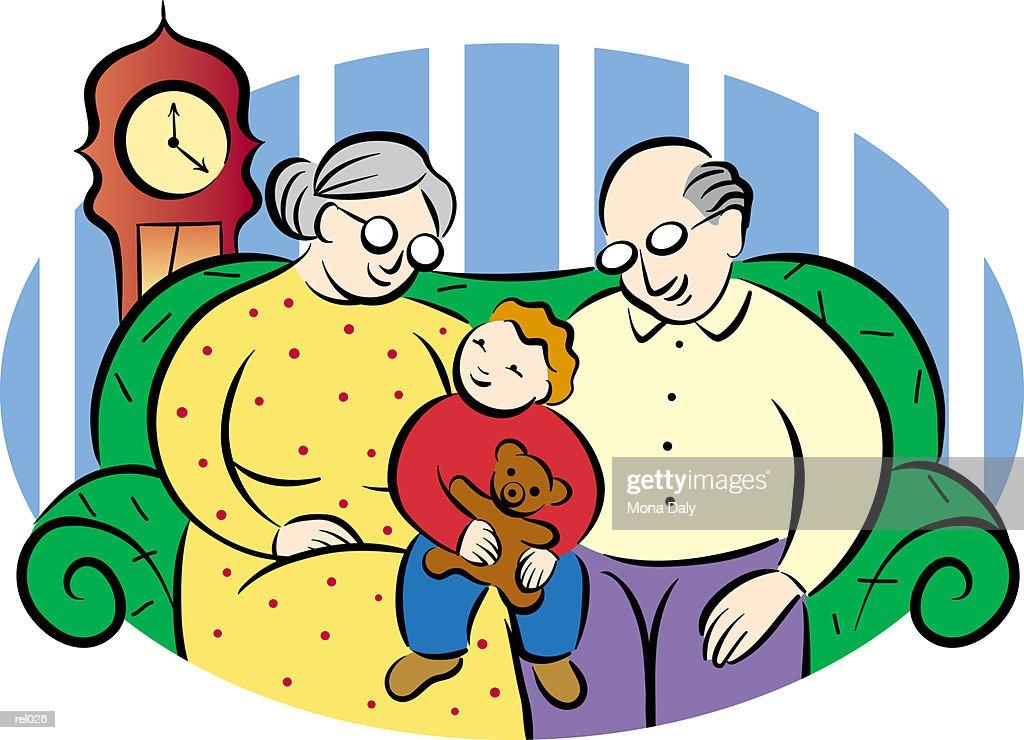 Grandparents with Grandchild : Ilustração de stock