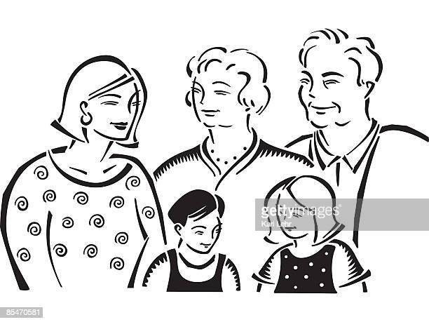 Grandparents,mother and children