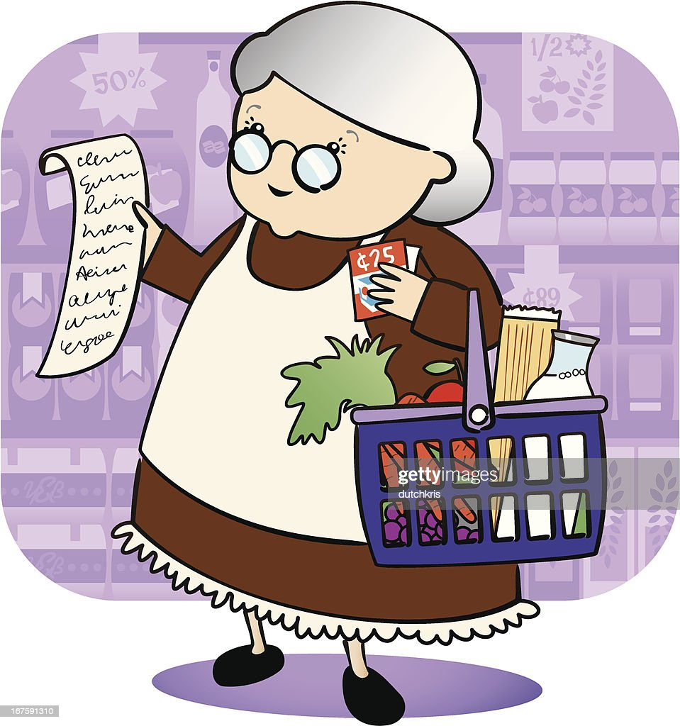Granny Grocery Shopping : stock illustration