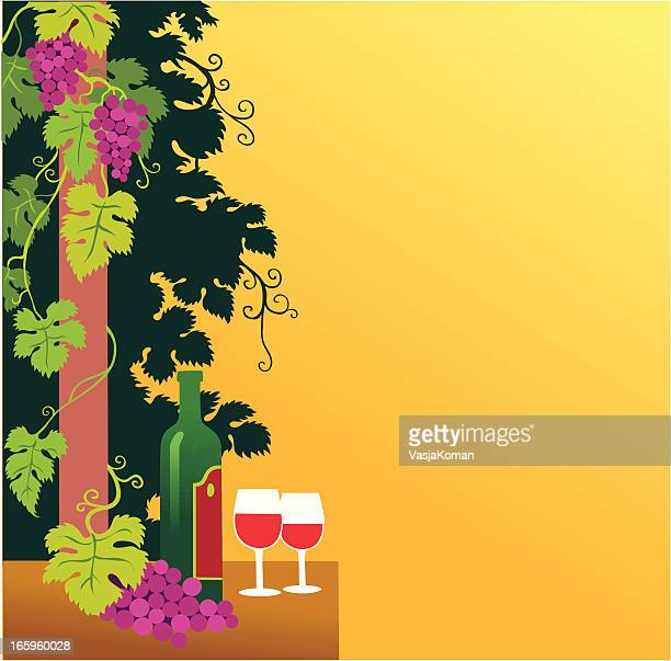 grapevine and wine panel with copyspace - viniculture stock illustrations