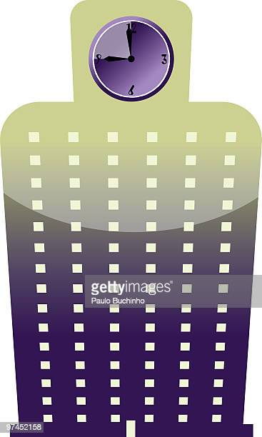 A graphic illustration of a tall building with a clock at the top