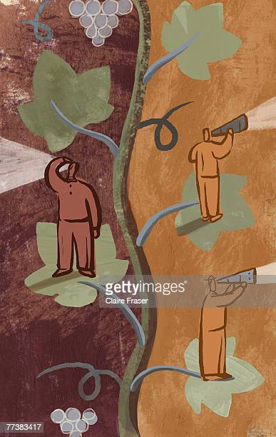 A graphic illustration of people looking out from leaves on a vine
