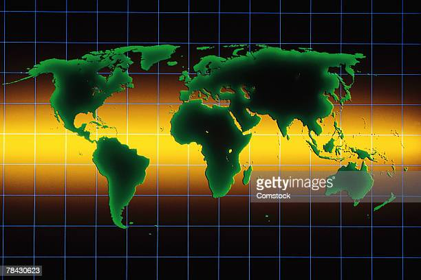 Graphic map of the world with grid