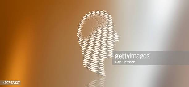 graphic of a man in profile against a background of colored light - colour gradient stock illustrations
