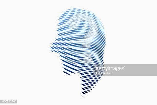 graphic of a man in profile with a question mark - colour gradient stock illustrations