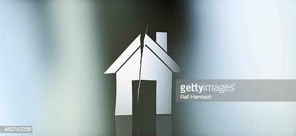 graphic of a torn house against a gradient background - colour gradient stock illustrations