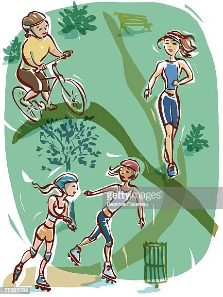 ilustraciones, imágenes clip art, dibujos animados e iconos de stock de a graphic representation of active lifestyle - educacion fisica
