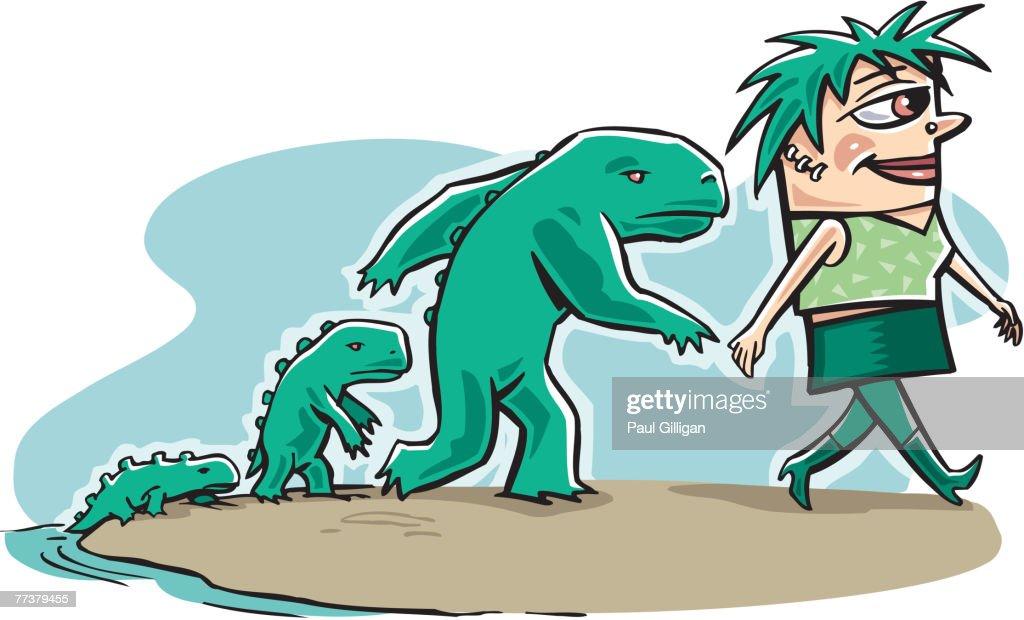A graphic representation of human evolution : Illustration