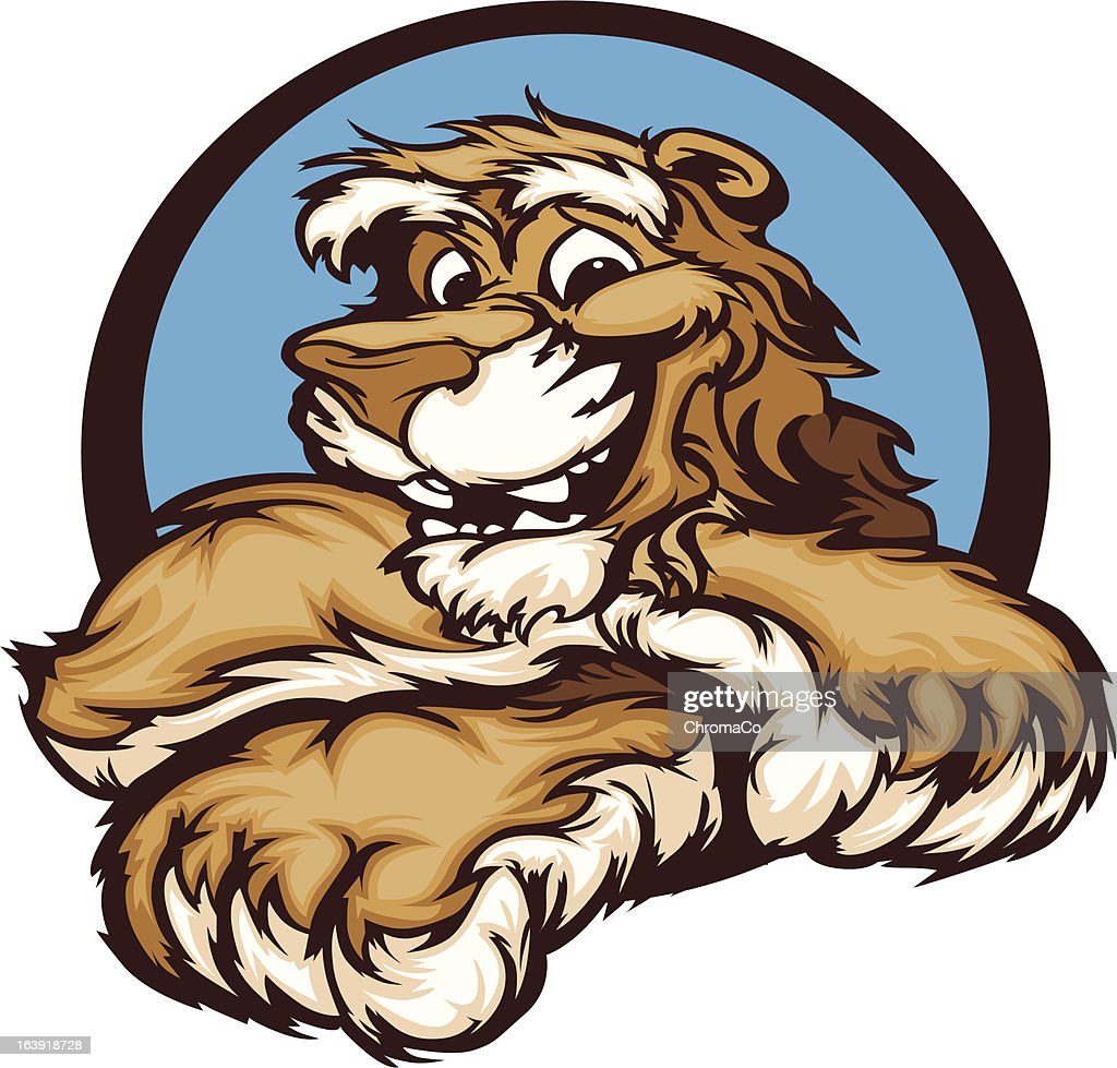 Graphic Vector Image of a Happy Cute Cougar Mascot