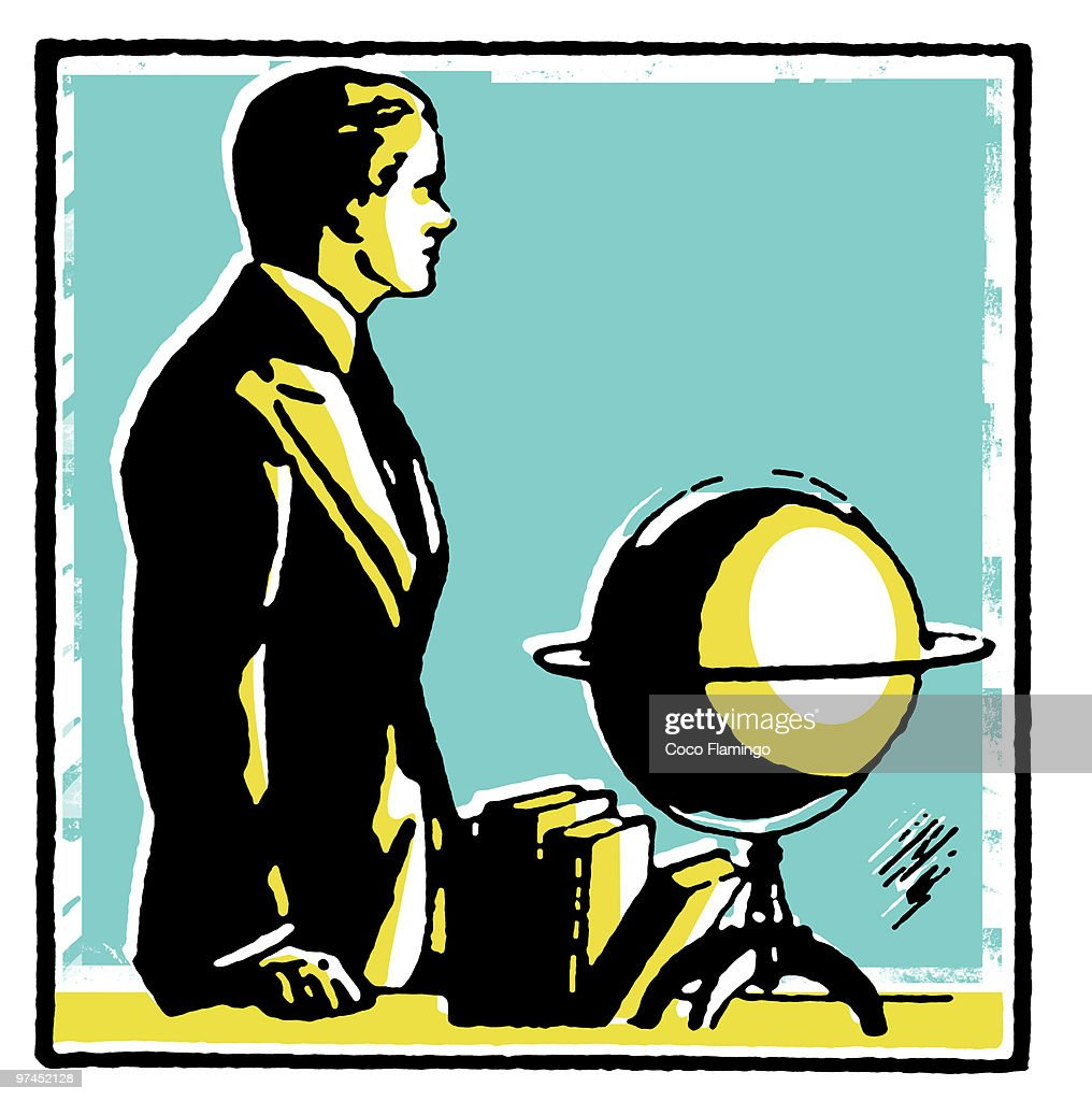 a graphical drawing of a man with a word globe stock illustration