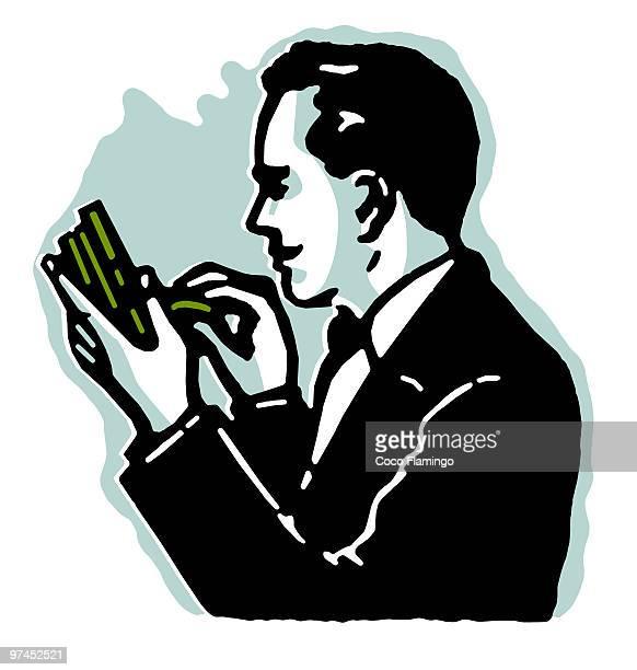 ilustraciones, imágenes clip art, dibujos animados e iconos de stock de a graphical illustration of a man counting his pennies - fajo de billetes