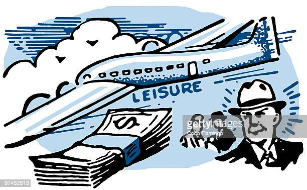 ilustraciones, imágenes clip art, dibujos animados e iconos de stock de a graphical illustration of a man with a wad of cash and an airplane - capitalismo