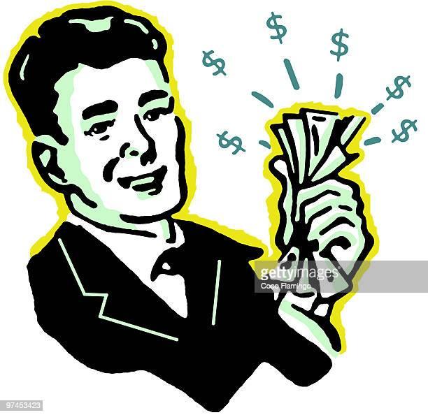 ilustraciones, imágenes clip art, dibujos animados e iconos de stock de a graphical illustration of a man with wads of cash - fajo de billetes