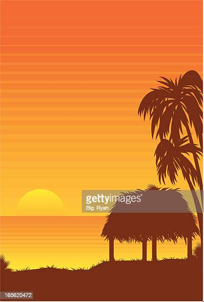 grasshut sunset - grass hut stock illustrations