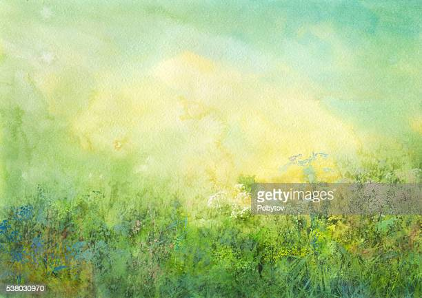 grassland, watercolor background