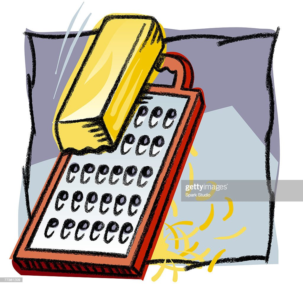 Grating cheese with a grater : Illustration