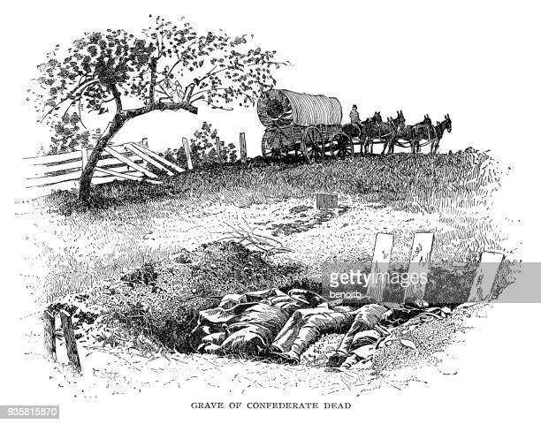grave of confederate dead soldiers - civil war dead stock illustrations