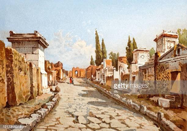 grave street in pompeii - archaeology stock illustrations