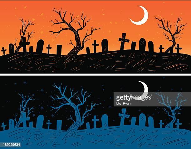 墓ヤード - 墓地点のイラスト素材/クリップアート素材/マンガ素材/アイコン素材