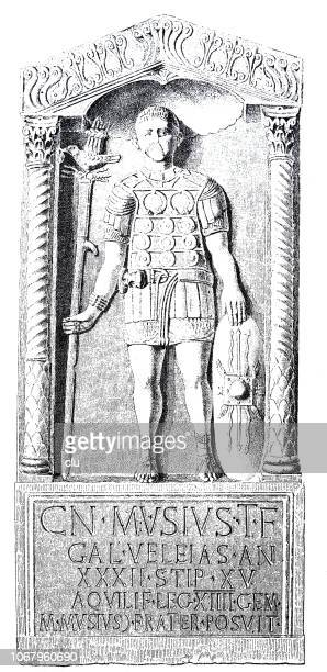 gravestone of a roman eagle bearer in the rhineland - torch bearer stock illustrations, clip art, cartoons, & icons