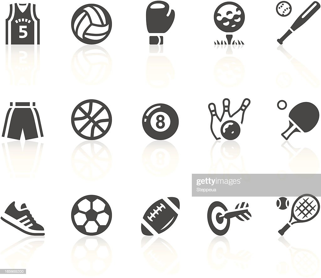 Gray and white sports equipment vector icon set : stock illustration