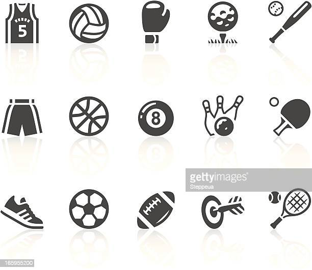 gray and white sports equipment vector icon set - tennis stock illustrations