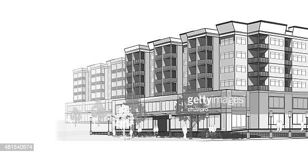 grayscale illustration of a modern  apartments - house exterior stock illustrations, clip art, cartoons, & icons