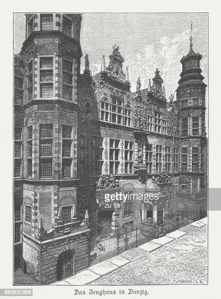 Great Armoury (Großes Zeughaus), Gdansk, Poland, wood engraving, published 1884