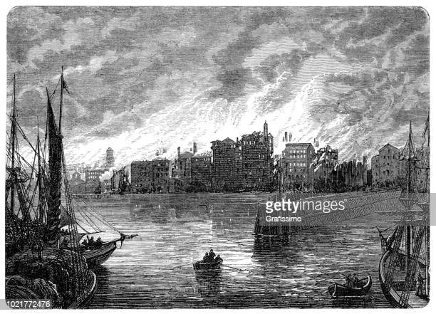 Great Chicago fire disaster burning city 1871