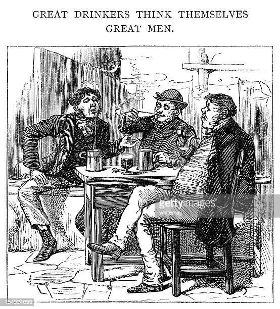 great drinkers think themselves great men - 19th century style stock illustrations