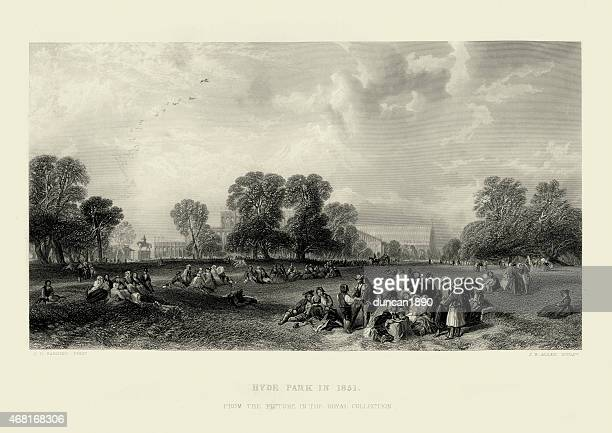 great exhibition - hyde park, london in 1851 - great exhibition stock illustrations, clip art, cartoons, & icons