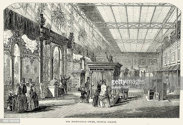 great exhibition - the birmingham court, crystal palace - great exhibition stock illustrations, clip art, cartoons, & icons