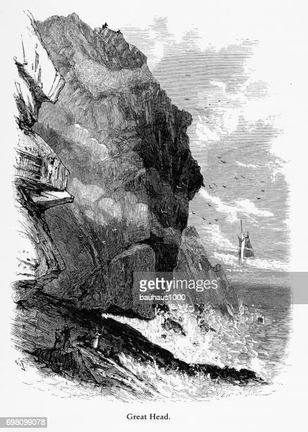 great head, frenchman's bay, maine, united states, american victorian engraving, 1872 - hancock county stock illustrations, clip art, cartoons, & icons