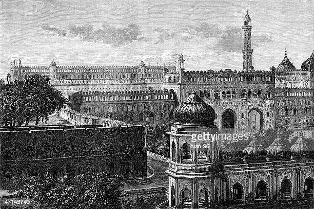 great imambara - mughal empire stock illustrations