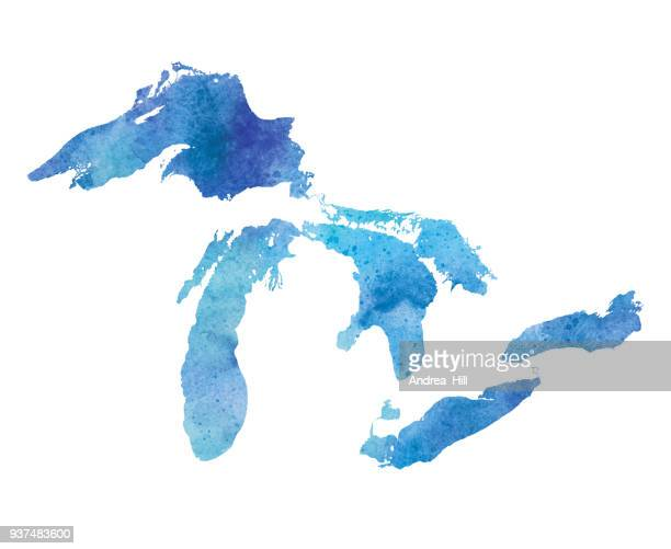 great lakes watercolor map - michigan stock illustrations