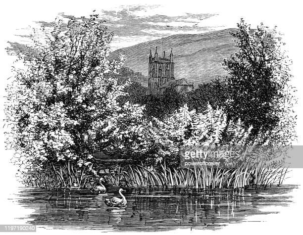 great malvern priory in great malvern, england - 19th century - english culture stock illustrations