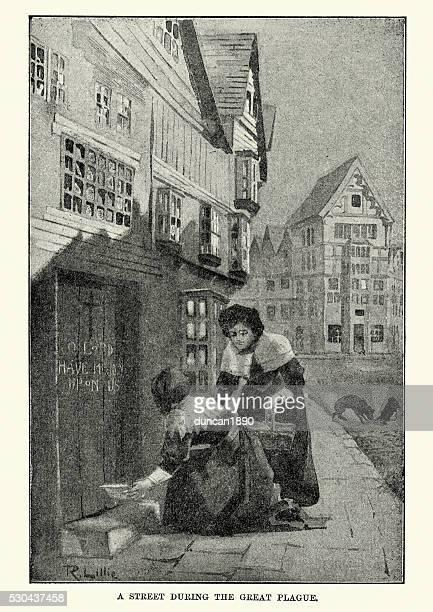 great plague of london - helping the sick - bubonic plague stock illustrations