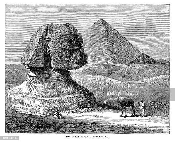 great pyramid and sphinx - mycenae stock illustrations