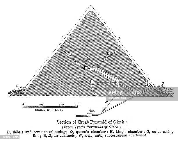 great pyramid of gizah - giza pyramids stock illustrations